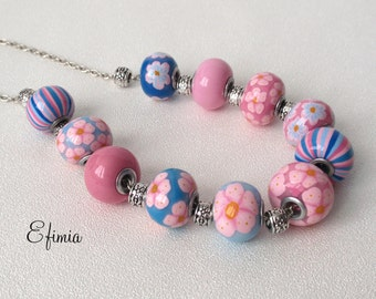 Necklace style European blue pink, floral, pastel tones, polymer clay
