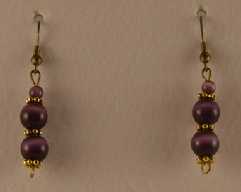 Purple Earrings with Gold Accents