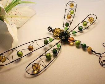 Dragonfly Ornament, Suncatcher - Green/yellow/amber