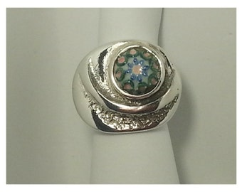 Seal ring made of 925 Silver with hand-painted ceramic piece