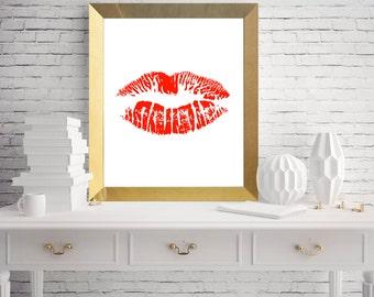 Lip print printable art / printable art / lip printable art / best printable art / gift for him / gift for man / kiss printable /cool prints