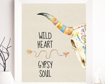 Bull skull boho printable, boho print, boho bull art, wild heart, gypsy soul, free, quote printable, bohemian wall art, cow skull, bull art