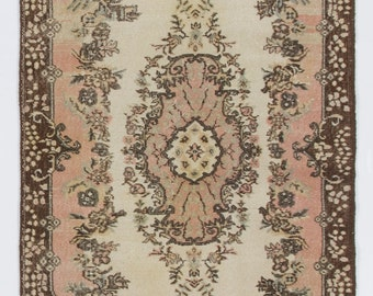 4x7 Ft  Vintage Oushak scatter Rug. Beige, brown and pink colors. Decorative old handmade carpet. Ideal for both home and office decor.  Y20