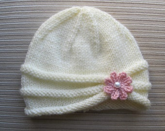 Instant Download Knitting Pattern Rolled Brim Hat for a Baby and Toddler