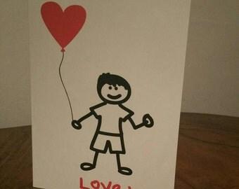 Little Boy Love You - Birthday Card - I love you - Mum - Dad - Grandad - Nanny - Gran - Blank card- Auntie - Greeting Card - son - grandson