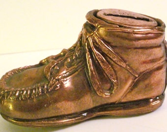 One Cast Metal Baby Shoe Bank w/ Removable Top-VTG.