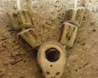 Grateful dead steal your face antler/boulder opal hand carved pendant