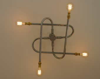 Rustic/Industrial half rose ceiling light fitting