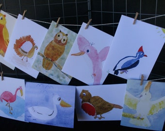 Watercolor bird Note cards (age 9)