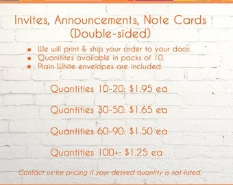 Print & Ship - Invitations, Announcements, Note Cards