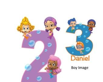 Bubble Guppy Personalized Boy or Girl Custom Iron On Transfer