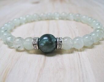 Prehnite Bracelet Seraphinite Bracelet Energy Bracelet Healing Bracelet Heart Chakra Bracelet Good Luck Bracelet Balance Bracelet Women Gift