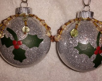 Sparkling Silver Holly Ornaments
