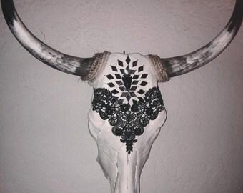 Decorated Longhorn Skull