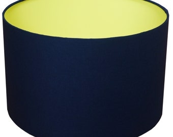 Lamp Shade, Navy, Yellow, Home Decor, Bright, Modern Lamp Shade, Lighting, Shade, Light, Bold Navy & Yellow