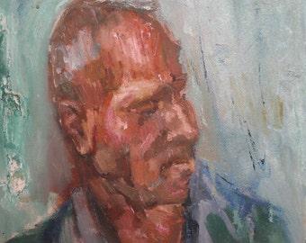 Vintage oil painting man portrait