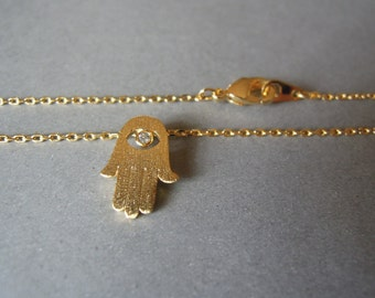 Hamsa Lucky Hand Necklace, Lucky Charm, Gold Plated Necklace, Birthday Holiday Gift For Her, Valentine's Day gift
