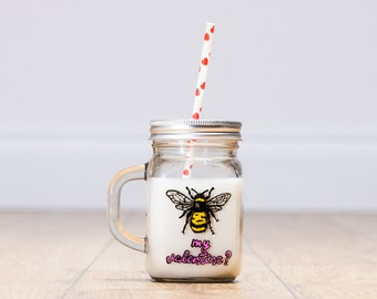 Bee My Valentine Drinking Jar
