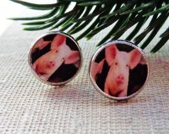 Earrings with cute pig