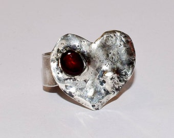 925 silver ring with amber, heart