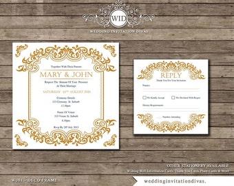 PRINTABLE WEDDING INVITATION, Square Gold Deco Wedding Invite
