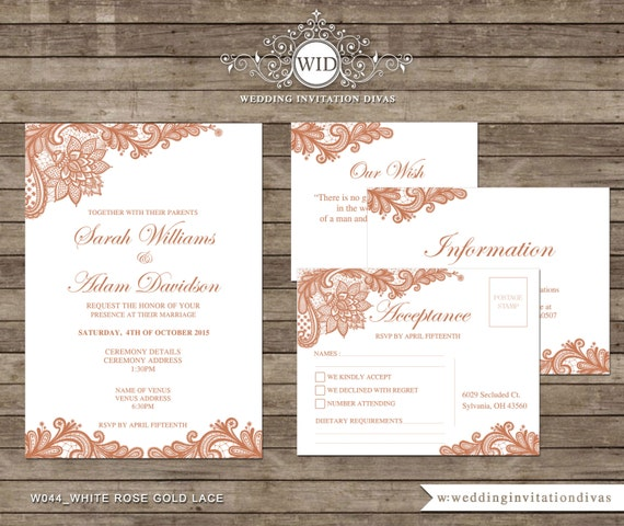 Rose Gold Lace Wedding Invitation Template By