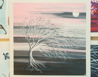 Set of 5 greeting cards: Sunset tree