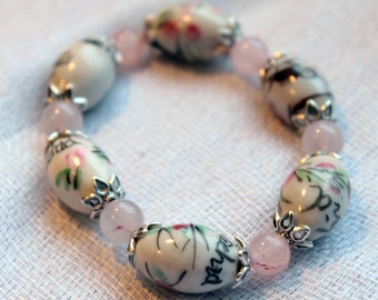 Hand Painted White Chinese Porcelain Beaded Stretch Bracelet with Pink Quartz Beads, Hand Painted Flower Beads, Yoga Bracelet Gift for Her