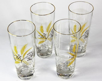 Vintage Highball Glasses with Harvest Wheat Pattern-Set of 4