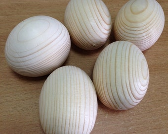 Large Wooden Eggs. Wooden Easter Eggs. Wooden Eggs. - DIY Unfinished Wood Egg - Set of 5