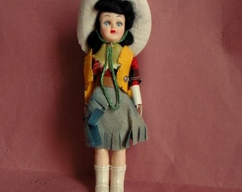 Vintage plastic cowgirl doll 1950-60