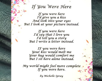 Poetry Art, If You Were Here Original 5x7 Poem Print by Michelle Spray, NO Frame