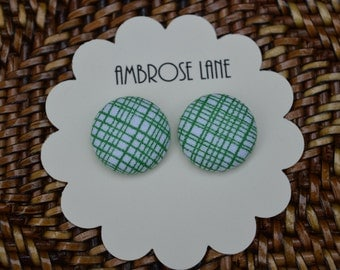 Green and white check button earrings - St. Patrick's Day
