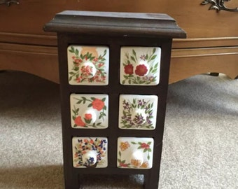 Vintage Ceramic & Wooden Apothecary, Jewelry, Trinket Box with Six ~ 6 Drawers with Knobs, Hand-Painted Colorful Floral, Flowers