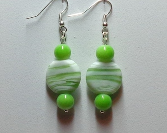 Lime green and white earrings