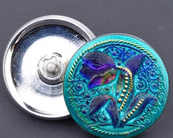 Czech Glass Button - Round Tulip Design Button - Flower Button - Purple Iridescent Turquoise with Gold Paint - 33mm