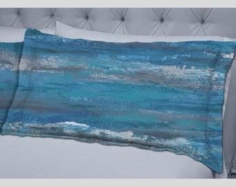 Modern pillow shams, Teal turquoise blue gray, Bedroom decor, Abstract art pillows, Designer bedding, Home Decor, Artistic bedding