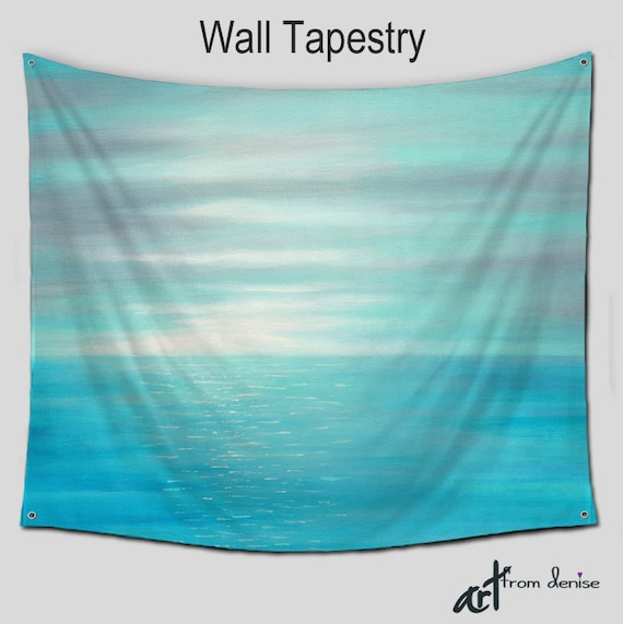 wall tapestry teal blue gray large wall hanging beach. Black Bedroom Furniture Sets. Home Design Ideas