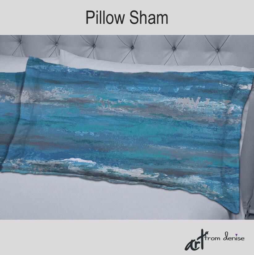 Modern pillow shams Teal turquoise blue gray Bedroom decor