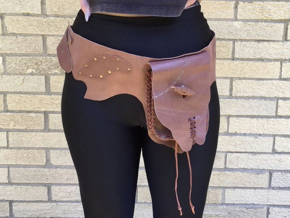 Leather Fanny pack, Vagabond Waist Pouch, Utility belt, Pocket Belt, Bag, Festival Wear, Money Belt, Travel Pouch, Gypsy, Hippie, Boho