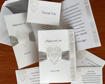 Damask Hearts Wedding Invitation Suite- Thermography Invitation Set - Classic Invite Kit - AV713