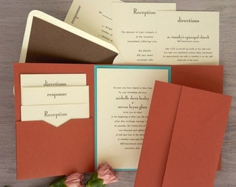 Folio Pocket Invitation Set - Thermography Wedding Invite - Classic Wedding Invite - Wedding Invite Suite - AV6097