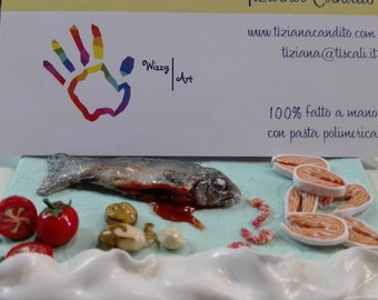 Personalized gift for fish seller. Pretty scale reproduction. Desk Business card holder, fish seller gift. Handmade shop decor