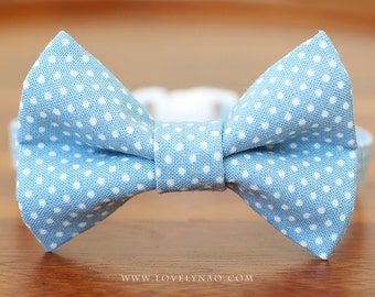 Lovely Dots Cat Bow Tie Collar – Blue