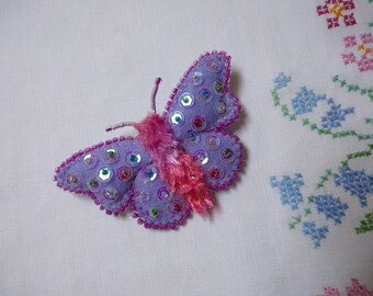 Butterfly Brooch, Felt Brooch, Beaded Brooch, Sequin Brooch