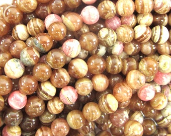 "6mm brown pink rhodochrosite round beads 15.5"" strand 34511"