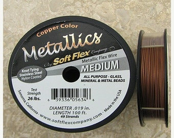 """40% CLEARANCE Soft Flex 49 strand beading wire .019"""" 100ft copper 13169"""