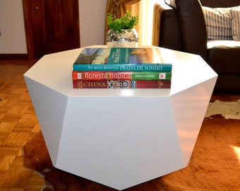 White coffee table - lacquered octagonal