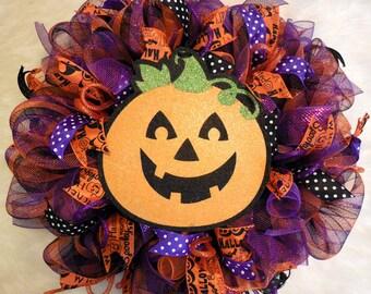 Halloween Wreath, Halloween Wreaths, Pumpkin Wreath, Fall Wreaths, Wreaths, Pumpkin wreaths, Halloween, Fall wreaths, Mesh Halloween