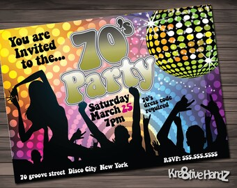 70's Party Invitation Personalized Printable Invite for your theme party
